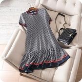 洋裝-短袖時尚撞色拼接荷葉邊連身裙73sz50【時尚巴黎】