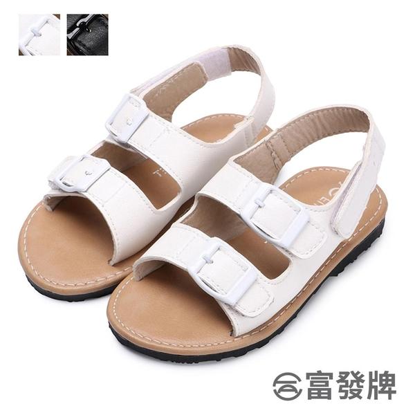 【富發牌】休閒雙扣環兒童涼鞋-黑/白  33ML54