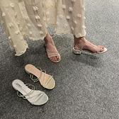 2020夏季新款RC水鑚仙女風兩穿網紅拖鞋外穿羅馬露趾粗跟涼鞋女潮 米娜小鋪