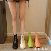 前拉鏈平底網紅短靴女冬新款瘦瘦靴百搭英倫風帥氣馬丁靴秋款 聖誕節全館免運