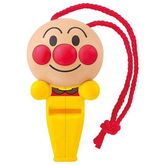 小禮堂 麵包超人 造型塑膠笛 附頸掛繩 口哨笛 玩具笛 音樂玩具 (黃 大臉) 4971404-31702