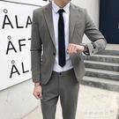 西服套裝男休閒韓版修身職業商務正裝青年英倫潮流小西裝男兩件套【果果新品】