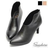 踝靴 顯瘦美型V口尖頭高跟靴-黑皮