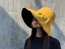 夏季 現貨 遮陽帽子女黑 膠空頂防曬帽 大檐透氣防紫外線的黑膠太陽帽