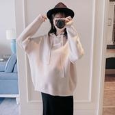 孕婦裝 孕婦毛衣好康推薦秋冬新款正韓時尚寬鬆純色外穿連帽針織衫孕婦裝上衣