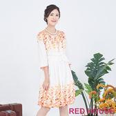 RED HOUSE-蕾赫斯-印花花苞洋裝(橘色)