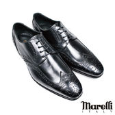 【marelli】真皮大底全雕花德比紳士鞋(145-BL)