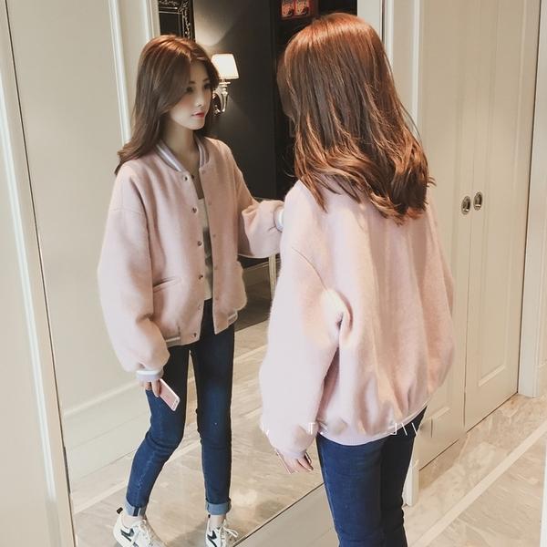 飛行外套 好康推薦新款加厚棒球服女春秋裝正韓bf寬鬆毛呢外套女短款小個子夾克