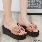 PAPORA大糖果結厚底揳型涼拖鞋K8756黑/粉/黃/藍(偏小)