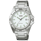 CASIO 優雅紳士夜光指針錶-螢光丁字白面(MTP-1244D-7A)