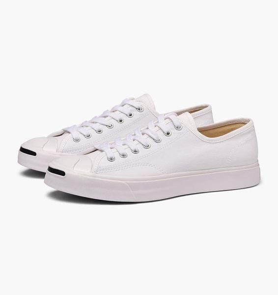 CONVERSE-Jack Purcell 男女款白色低筒開口笑休閒鞋-NO.164057C