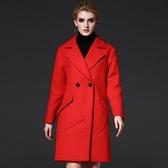 毛呢大衣-長版大方廓型不規則口袋女風衣外套2色73ir31【時尚巴黎】
