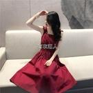2021新款韓國復古方領背帶露肩露背中長款收腰吊帶紅色洋裝女夏 快速出貨