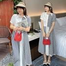 (現貨+預購 FUWAFUWA)-- 加大尺碼格子拼接田園豐短袖洋裝