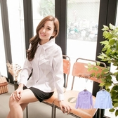 襯衫--學院氣質路線-細條紋附領巾公主線設計長袖襯衫(白.紫M-5L)-I42眼圈熊中大尺碼