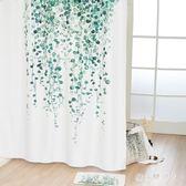 浴簾 北歐加厚防水防霉浴室布淋浴房簾子歐式綠葉 AW4222【棉花糖伊人】
