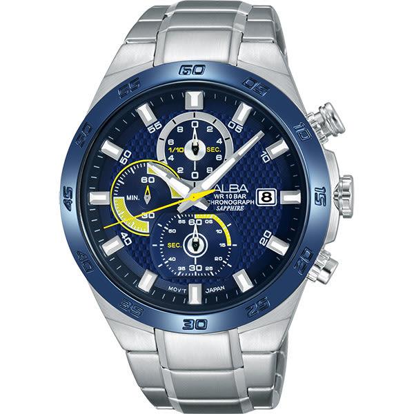 ALBA 雅柏 ACTIVE 活力玩酷型男計時手錶-藍/44mm VD57-X080B(AM3339X1)