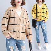 胖妹妹大尺碼慵懶風短款針織開衫 女式春秋季 寬鬆長袖V領毛線衣 週年慶降價