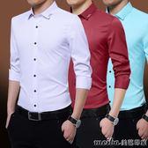 夏雪紡長袖襯衫男薄款純色商務休閒免燙冰絲大碼襯衣藍色短袖夏 美芭