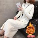 高領毛衣女長款過膝秋冬打底衫2019新款針織衫加絨洋裝加厚開叉-ifashion