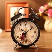 學生創意床頭時尚簡約靜音鬧鐘鬧錶台鐘金屬小鬧鈴帶夜燈鈴聲很響 俏腳丫