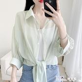 薄款百搭防曬襯衫女夏季蝙蝠開衫短款雪紡空調衫外搭小披肩學生潮