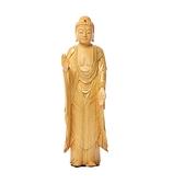 阿彌陀佛{黃楊木}手繪描金木雕佛像【十方佛教文物】