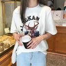 【GZ45】320#實拍夏季新款女裝韓版學生時尚休閒印花寬鬆套頭短袖T恤
