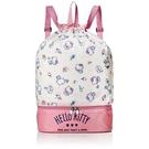〔小禮堂〕Hello Kitty 尼龍雙層束口後背袋《粉米.冰淇淋》手提袋.肩背袋.縮口袋 4990270-11969