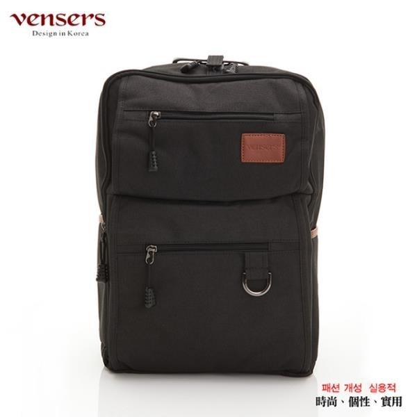 【南紡購物中心】【vensers】簡約丹寧牛仔後背包(R00066101黑色)