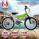 《飛馬》20吋12段變速馬鞍型雙避震車- 綠/銀