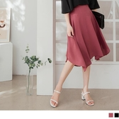《CA2032-》簡約優雅不規則傘襬A字雪紡及膝裙 OB嚴選