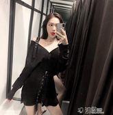 港味露肩v領長袖洋裝女韓版中長款黑色收腰休閒裙子潮 沸點奇跡