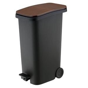 【日本 RISU】Smooth踩踏式緩衝靜音垃圾桶 31L-木紋色