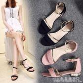 夏季平跟水鑽涼鞋珍珠低跟絨面女涼鞋一字扣編織帶平底女鞋 『CR水晶鞋坊』