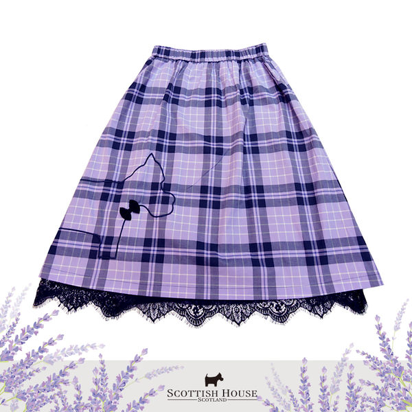 側邊電繡大框梗犬格紋及膝裙 Scottish House【AI2113】