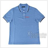 PRADA經典橡膠LOGO黑白設計純棉短袖POLO衫(天空藍)