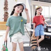 女童T恤 女童短袖T恤新款韓版中大童洋氣體恤女大童夏季純棉半袖上衣  提拉米蘇