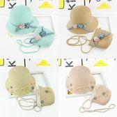 沙灘帽子女童草帽夏季寶寶太陽帽盆帽漁夫帽