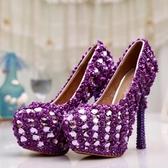 圓頭高跟鞋-超高跟水鑽搶眼熱賣女水晶婚鞋73e29【巴黎精品】