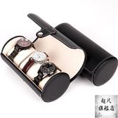 手錶盒 檀韻致遠PU皮革3位圓筒新品珠寶首飾收納展示包裝盒子原創-快速出貨
