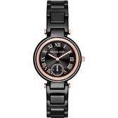 Michael Kors MK 陶瓷羅馬小秒針錶-黑x玫瑰金框/33mm MK6242
