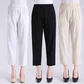 中老年女褲直筒九分褲女寬鬆媽媽夏裝薄款松緊高腰奶奶全棉褲子女