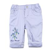【愛的世界】鳶尾花休閒反褶七分褲-藍/2~8歲-台灣製-n8  ---春夏下著 夏出清