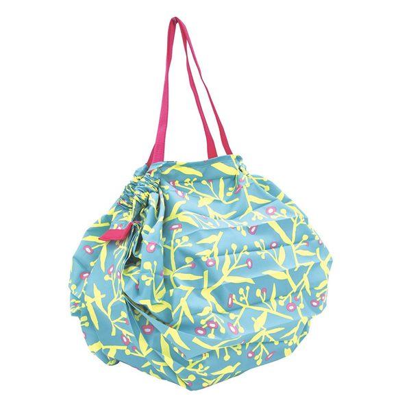 Shupatto? 輕巧秒收環保袋(M/草花) 折疊 大容量 環保袋 購物袋 萬用包 旅行收納 日本MARNA