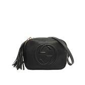 【GUCCI】SOHO皮革流蘇 disco小方型側背包(黑色) GU14000181