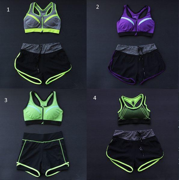 春夏新款運動套裝女士速幹跑步運動健身胸罩短褲組合瑜伽套裝  -124820013