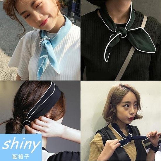 【DJB5402】shiny藍格子-日系交叉布藝壓包邊雪紡頭帶/髮帶