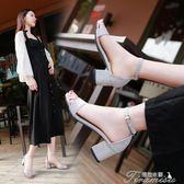 夏季新款一字扣帶中高跟粗跟涼鞋女百搭韓版露趾時尚羅馬女鞋 提拉米蘇