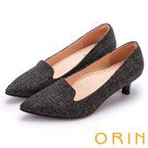ORIN 簡約時尚 質感格紋布面百搭尖頭中跟鞋-灰色